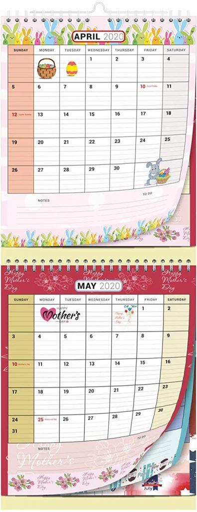 2-month wall calendar