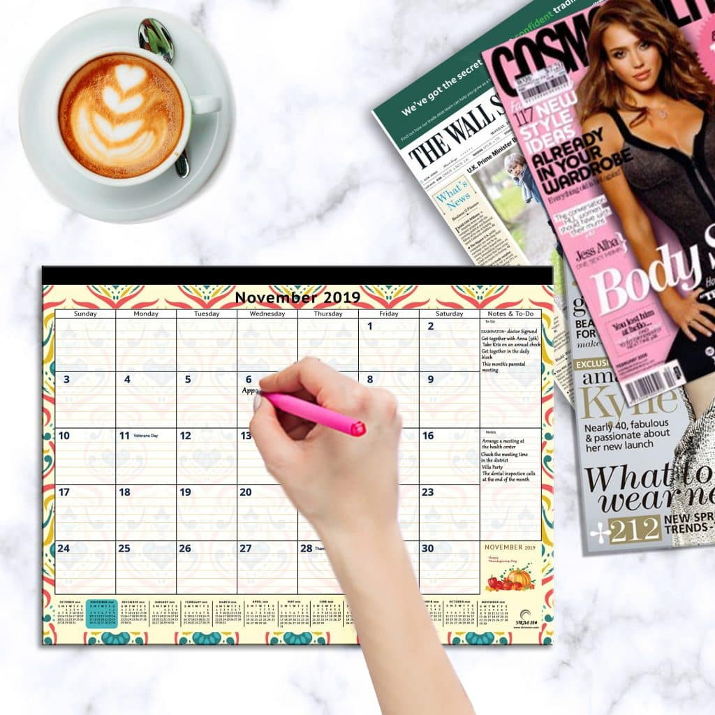 large magnetic calendar for refrigerator used as a desk calendar