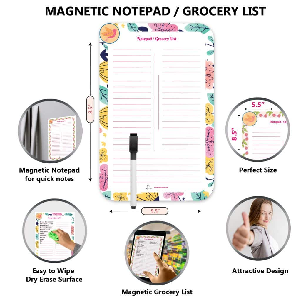 free magnetic dry erase notepad and pen of the large magnetic calendar