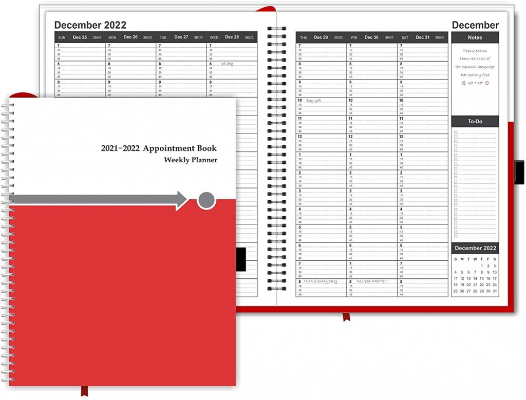 weekly and monthly appointment planner from 2021 to 2022