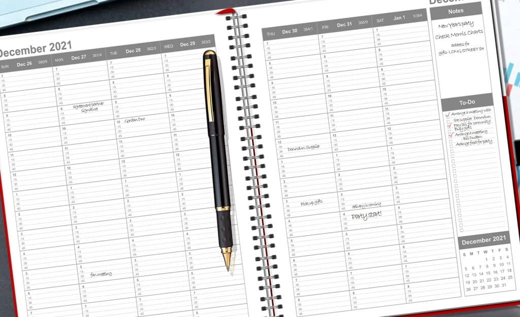 weekly page of the weekly and monthly planner that has 15 minute increment