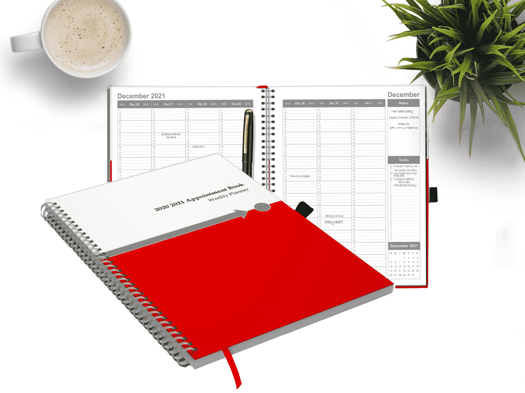 2021 to 2022 dated weekly and monthly planner with coffee and plant