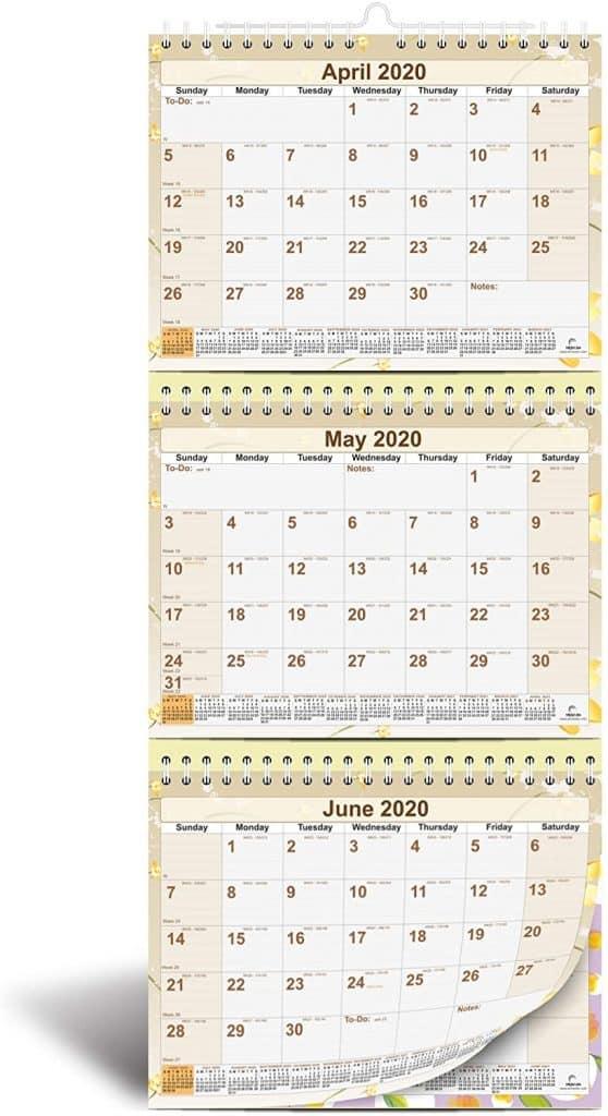 3-month view calendar 2021