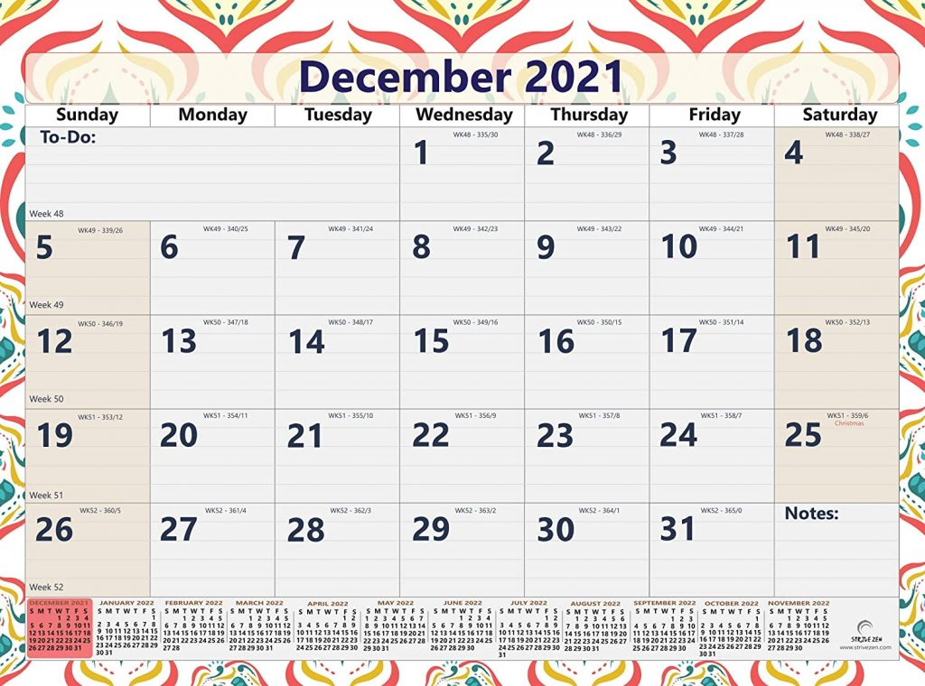 december 2021page of the 3 month wall calendar from 2021 to 2022