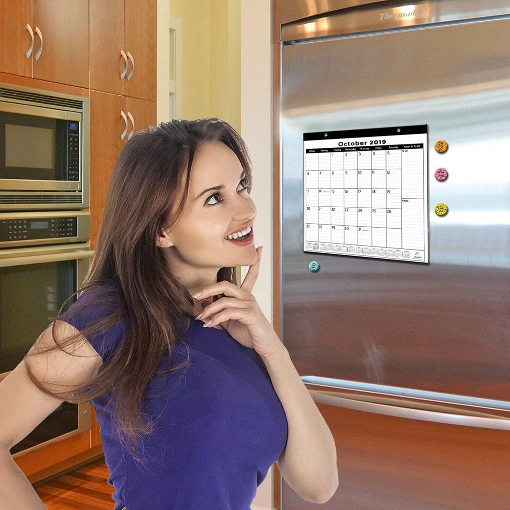 woman looking at the minimalist magnetic fridge calendar