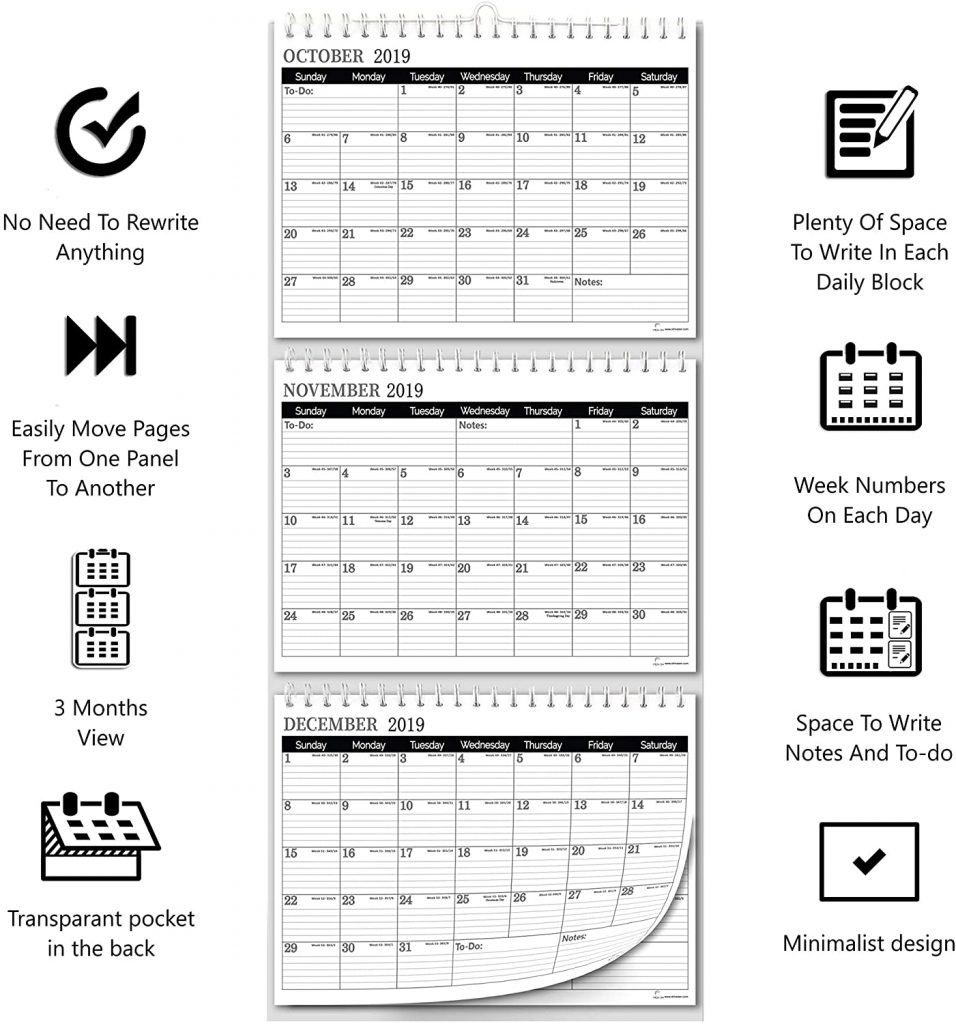 Infographic about the features and details of the 3 month wall calendar from 2021 to 2022