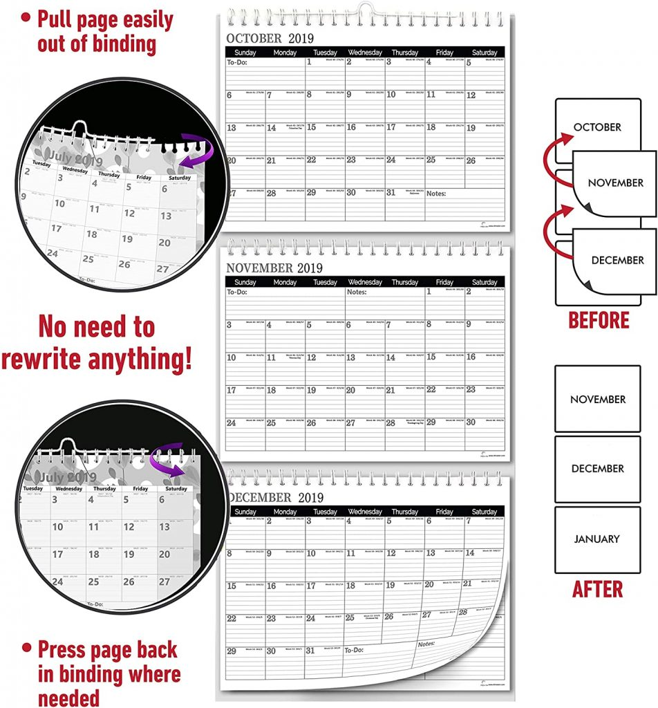 how to use the move a page feature of the 3 month wall calendar
