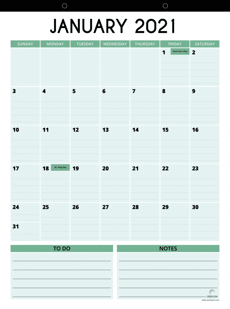 January 2021 vertical style magnetic calendar