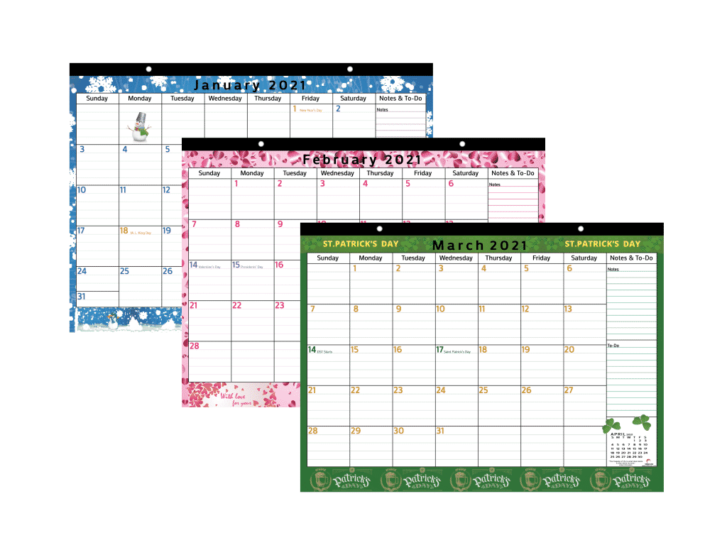 colorful magnetic calendar from January to March 2021