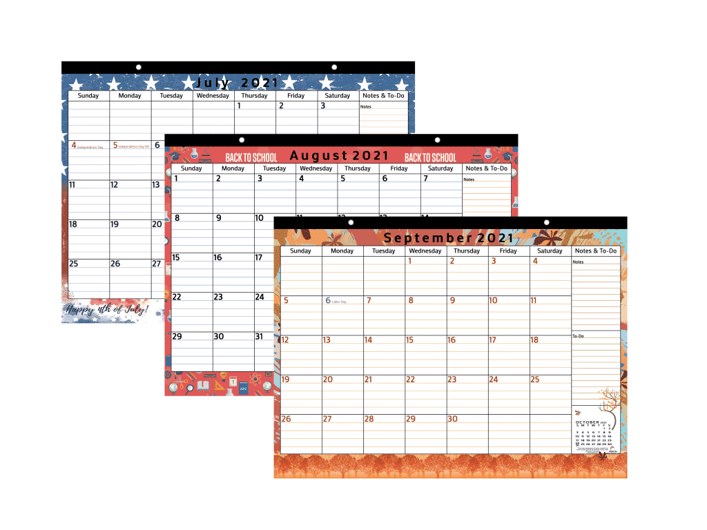 colorful magnetic calendar from July to September 2021