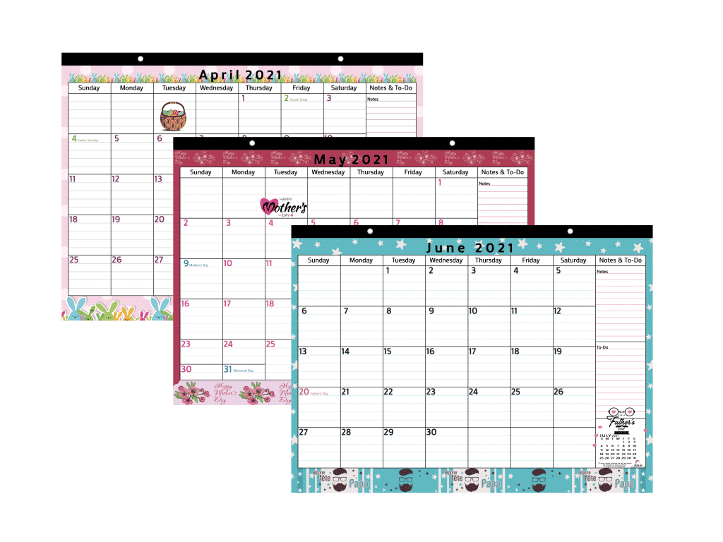 magnetic calendar with colorful design from April to June 2021