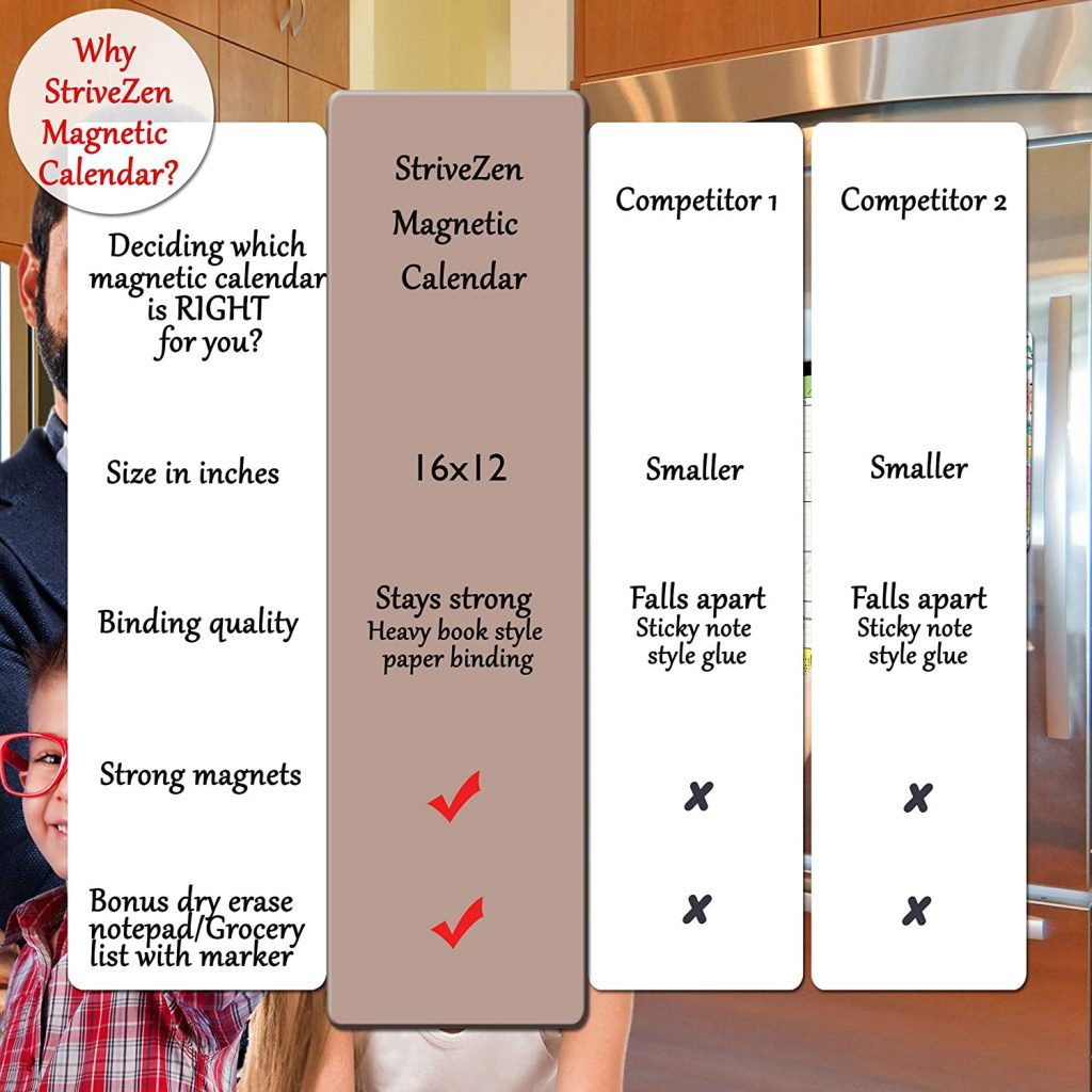 large magnetic calendar with free dry erase notepad difference from competitors