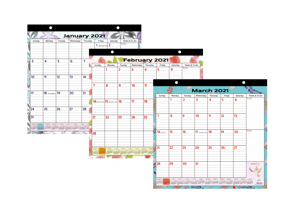 colorful magnetic calendar nature themed design