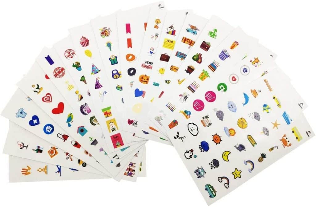 cute stickers pack for planner set of sixteen