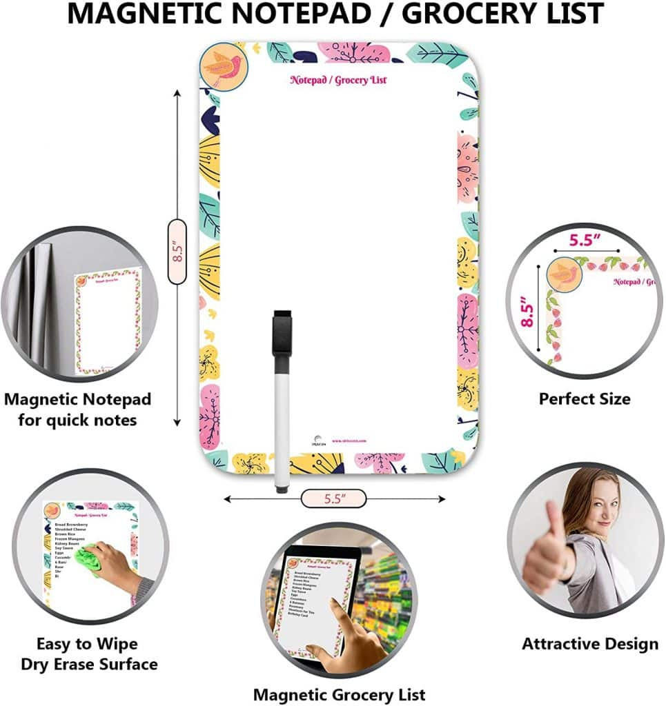 infographic of the magnetic dry erase notepad