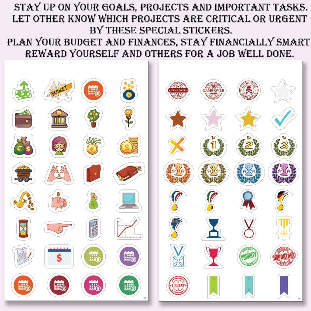 stickers for projects and tasks and goals
