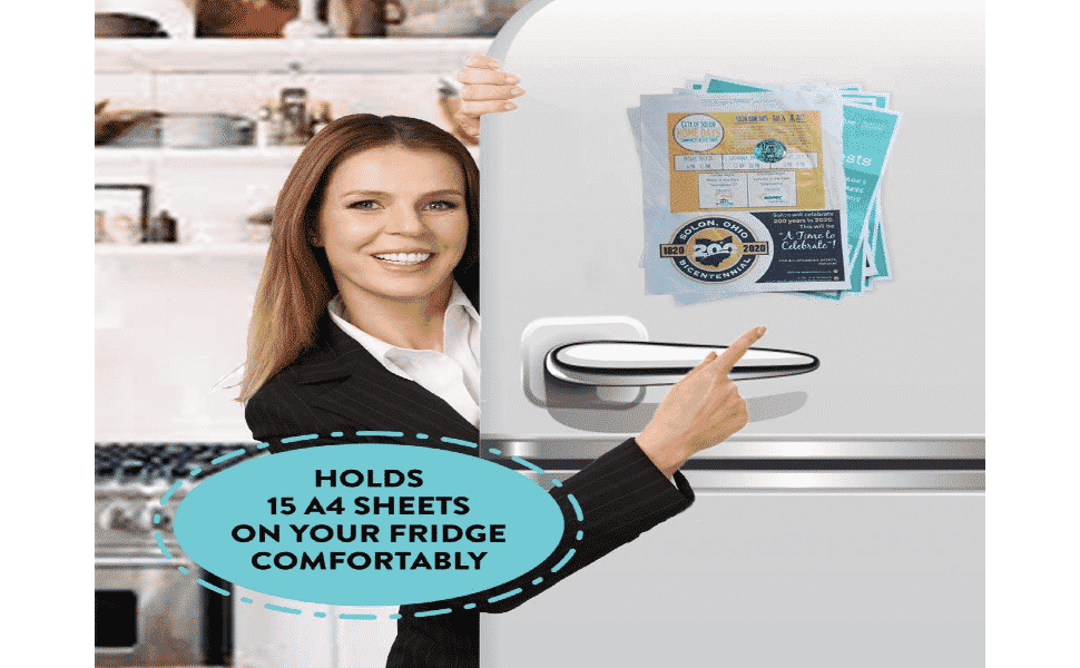 woman pointing to the colorful refrigerator magnets with motivational quotes