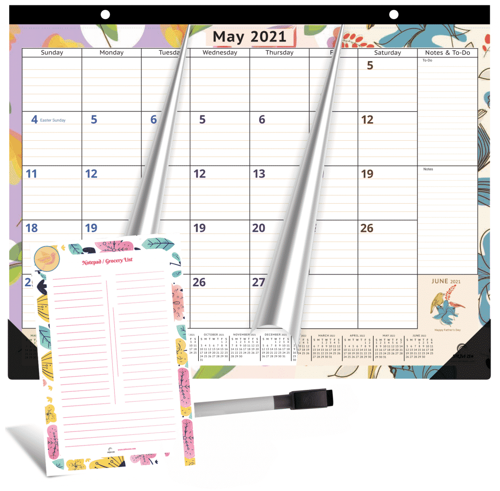 magnetic calendar with free magnetic dry erase notepad