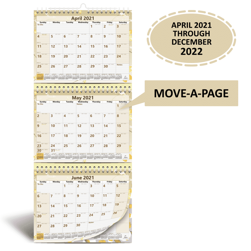 3 month wall calendar from 2021 to 2022 with move a page feature