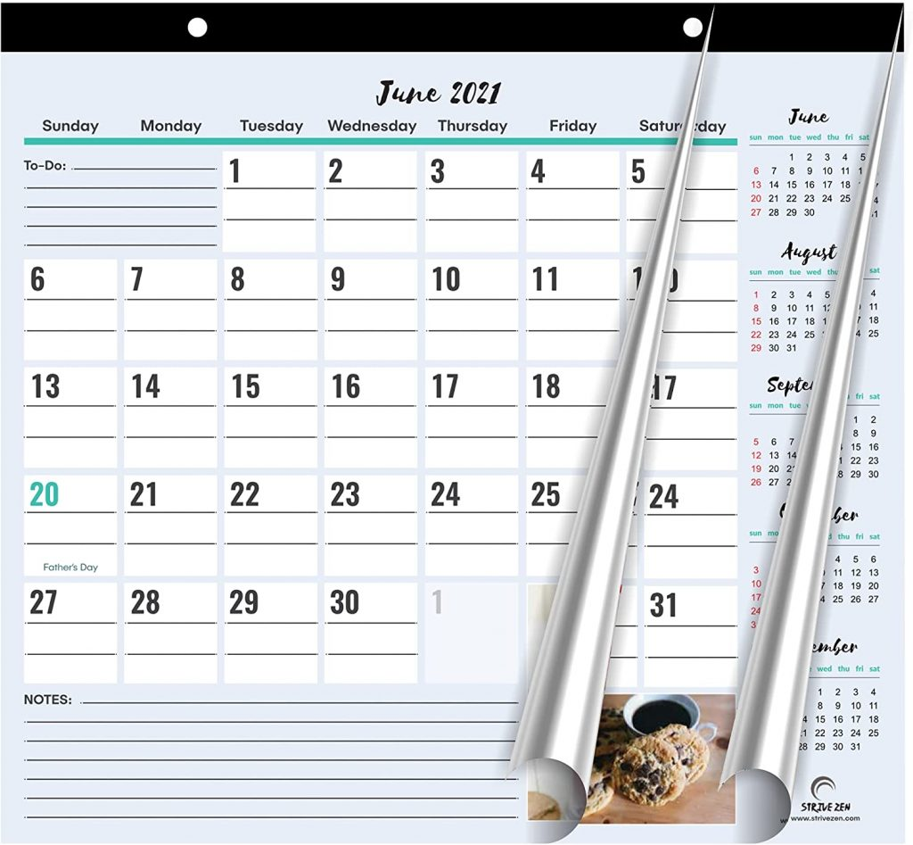 magnetic calendar 2021 to 2022 with picture of foods at the bottom