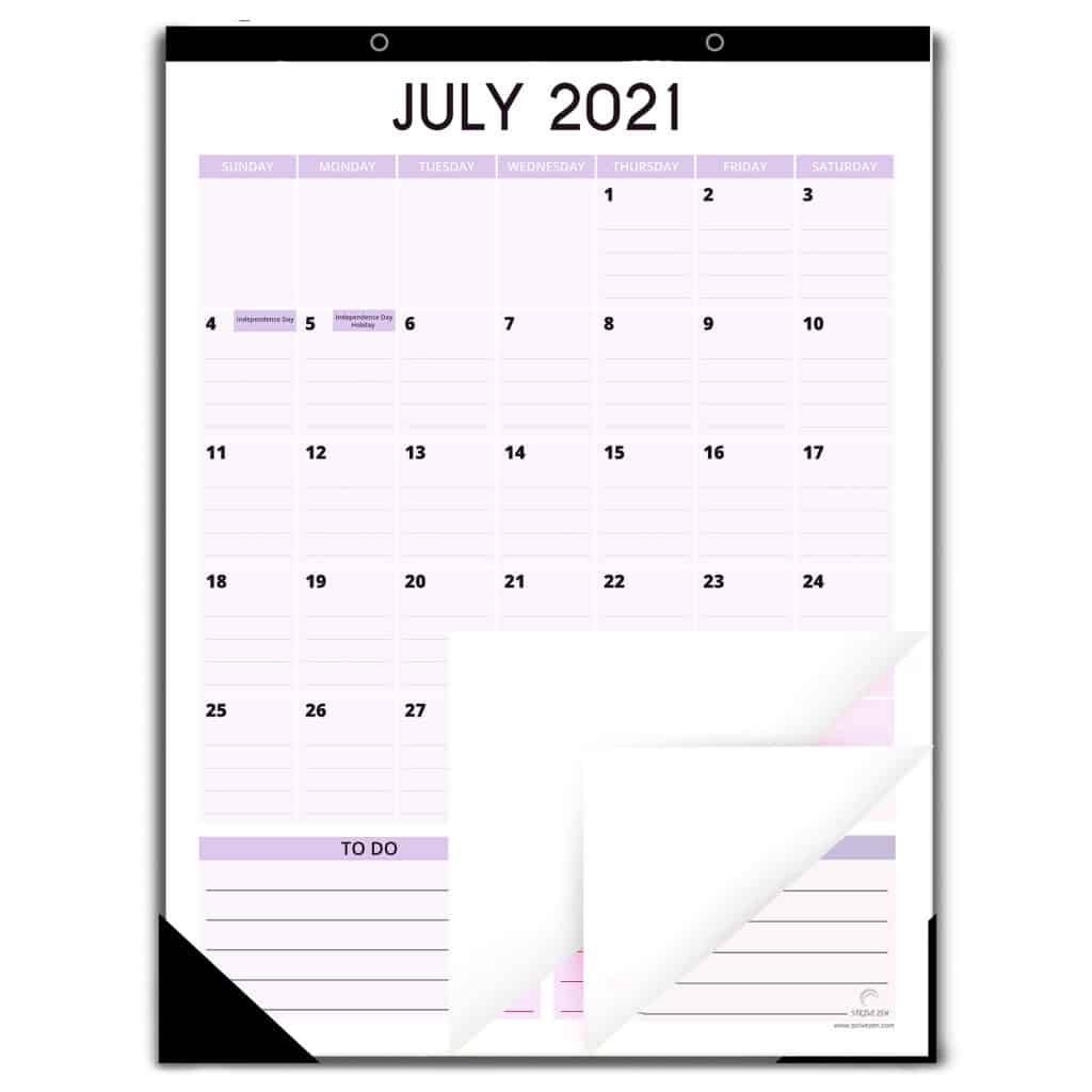 vertical stye magnetic calendar in pastel color
