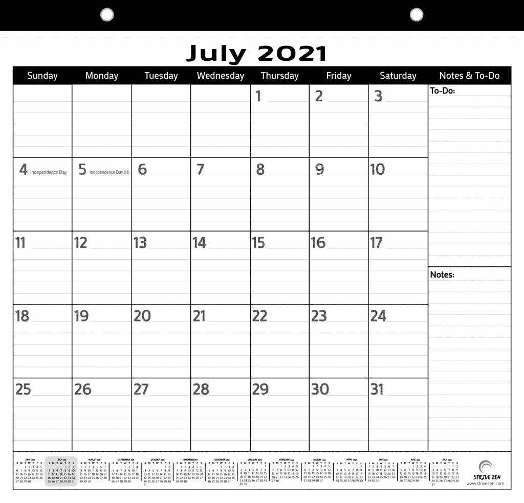 minimalist magnetic calendar that runs from 2021 to 2022