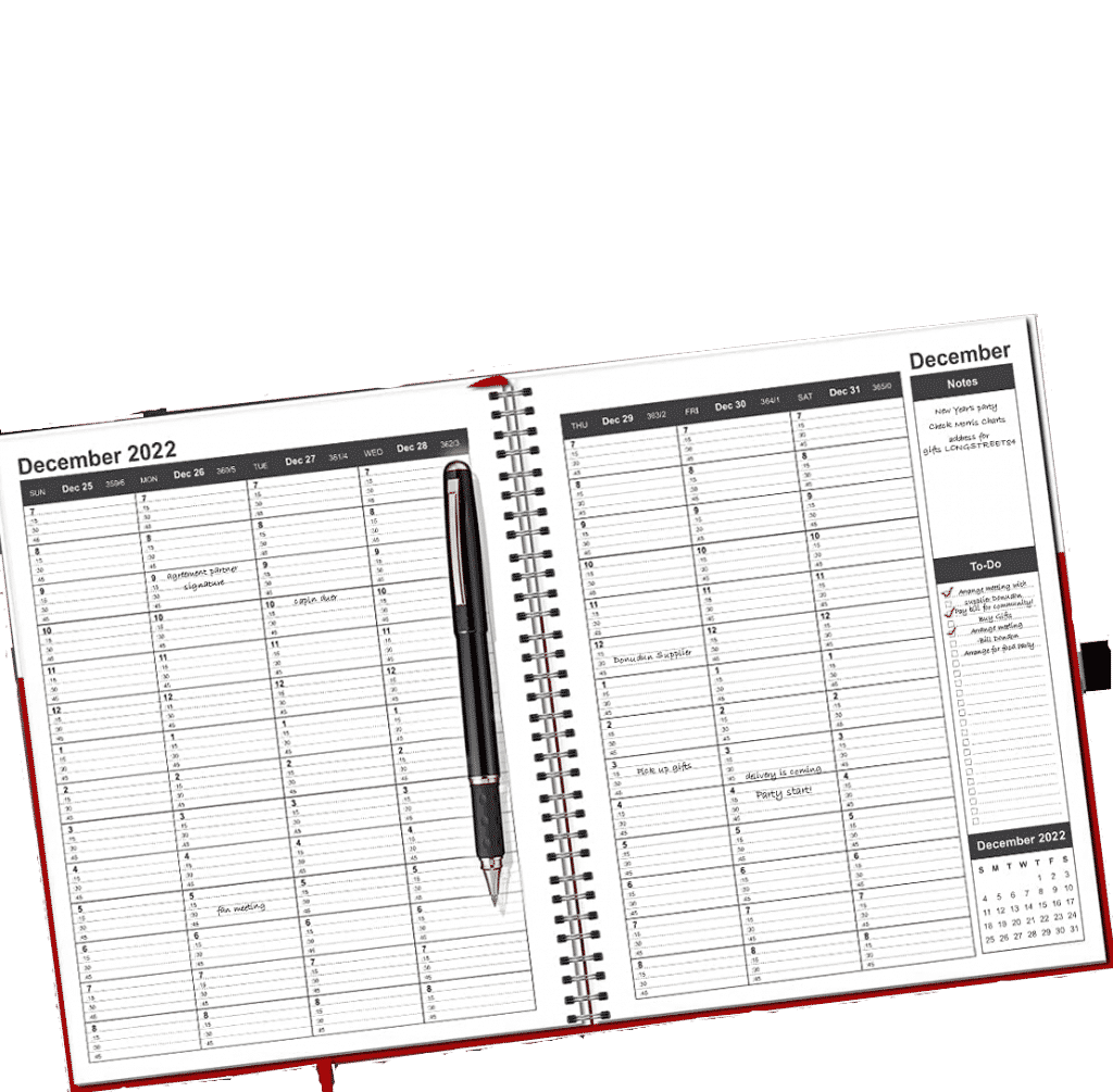 weekly spread of the weekly and  monthly planner with a 15-minute time block slots