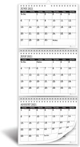 minimalist 3 month wall calendar from 2021 to 2022
