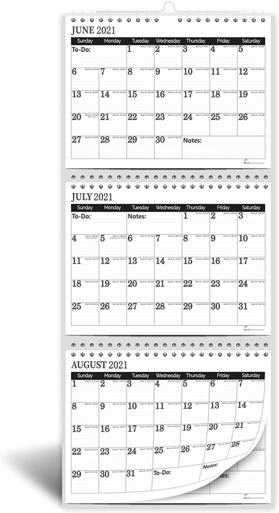 minimalist 3 month wall calendar from 2021 to 2022 with a move a page feature