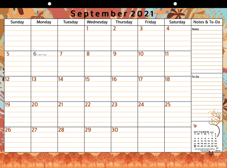 September 2021 free digital or printable calendar