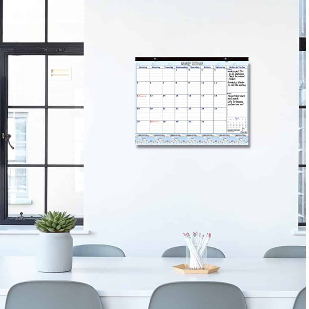 calendar hanging on the office wall