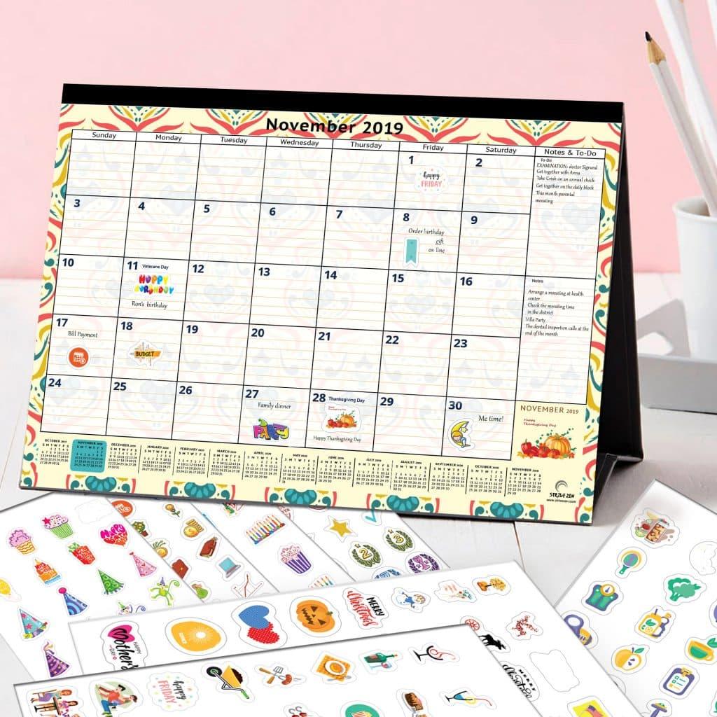 desk calendar with cute stickers