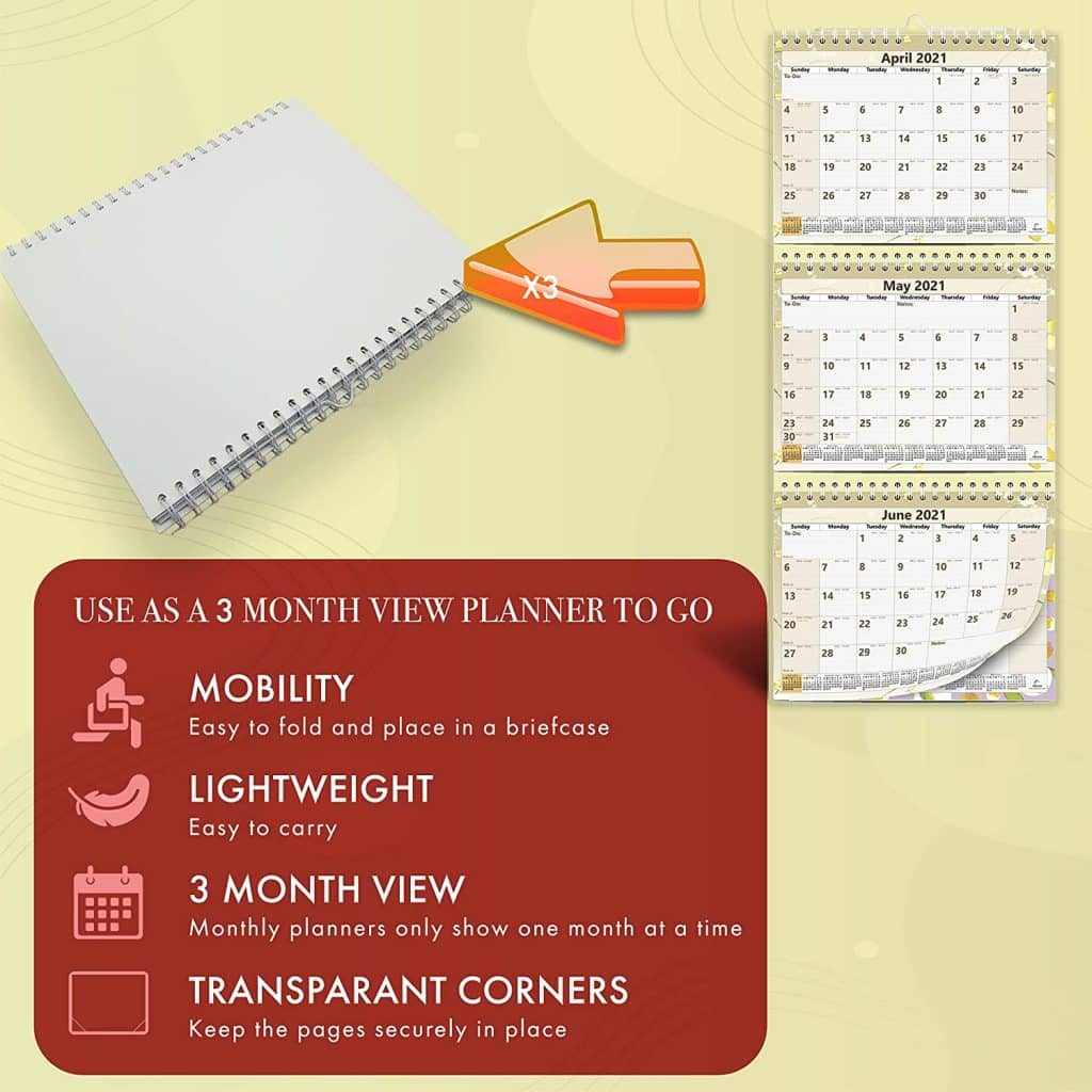 folded 3-month wall calendar use as planner to go infographic