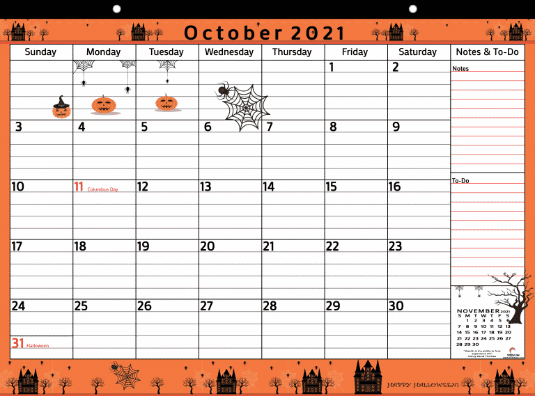 October 2021 free calendar